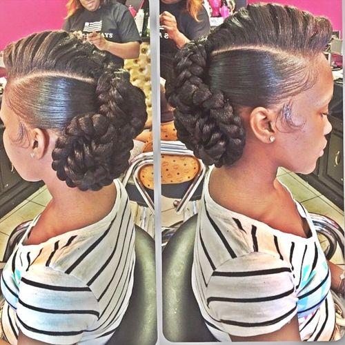 black braided updo