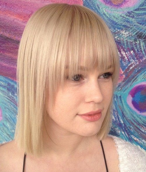 blonde straight bob with a fringe