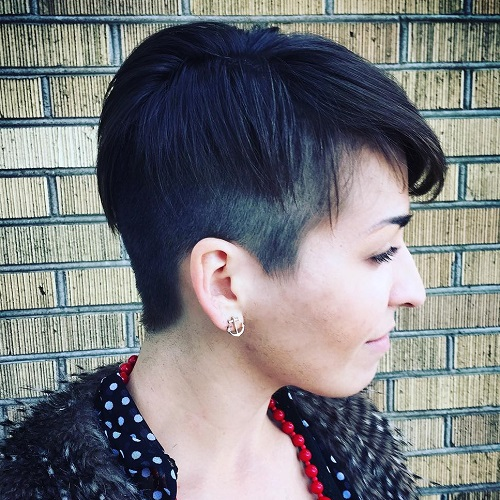 Black Layered Pixie With Side Undercut