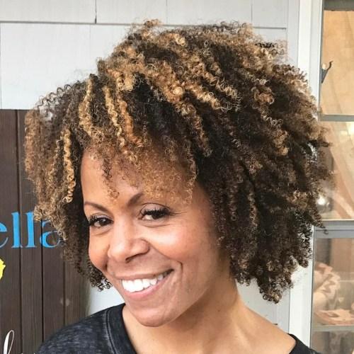 Short To Medium Natural Hair With Highlights