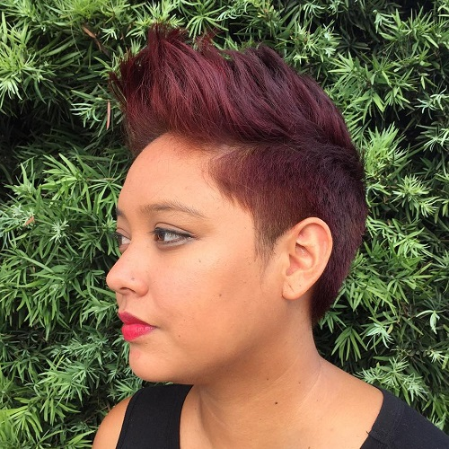 Burgundy Colored Pixie Mohawk