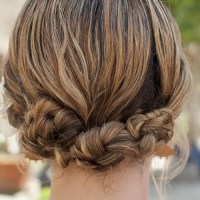 quick knotted updo for medium hair