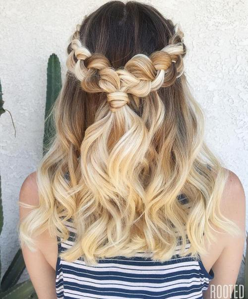 Braided Half Up Hairstyle For Thick Hair