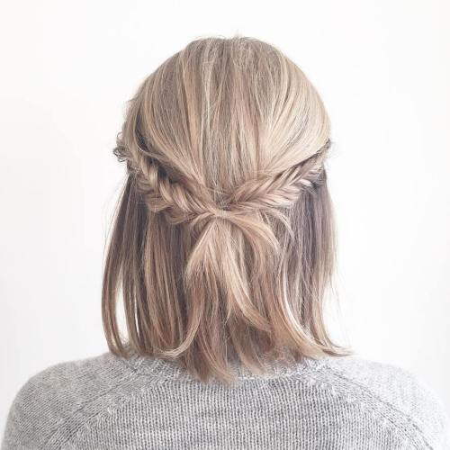 Braided Half Updo For A Medium Bob