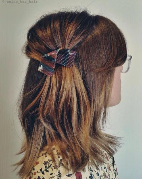 Simple Asymmetrical Half Updo For Medium Hair
