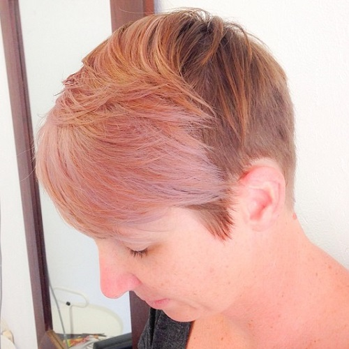 Auburn Pixie With Pastel Pink Bangs