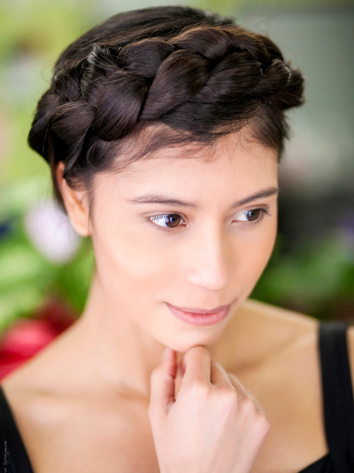 updo with crown braids