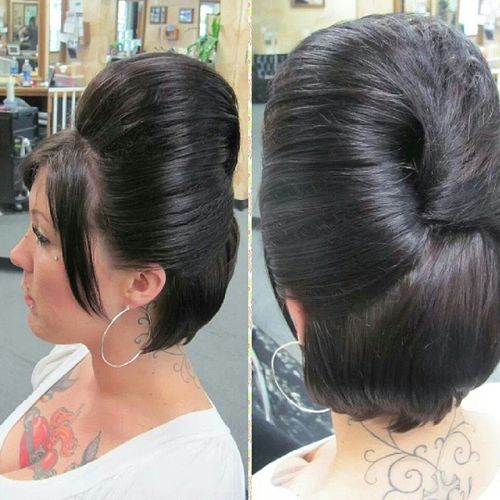 big bouffant half updo for bob