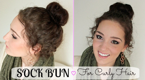curly updo sock bun