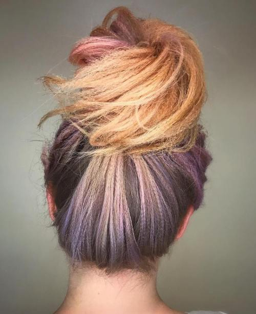 Messy Bun For Crimped Hair