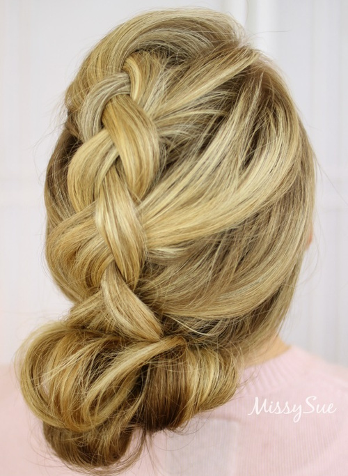 loose braid and bun updo