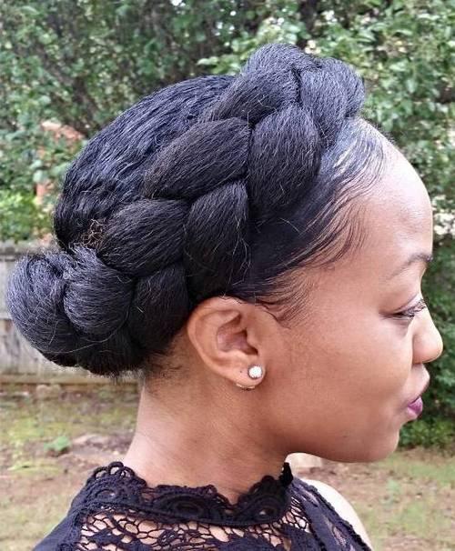 natural hair crown braid updo