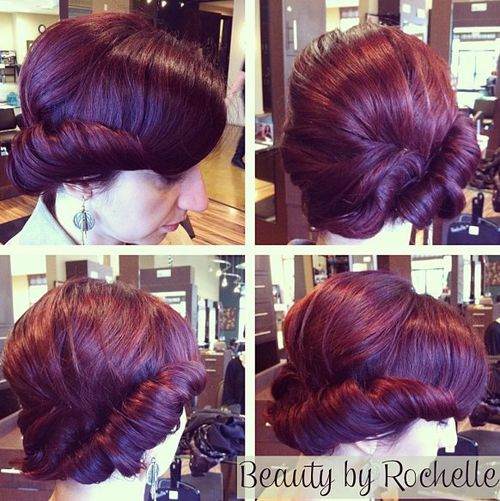 twisted updo for burgundy hair