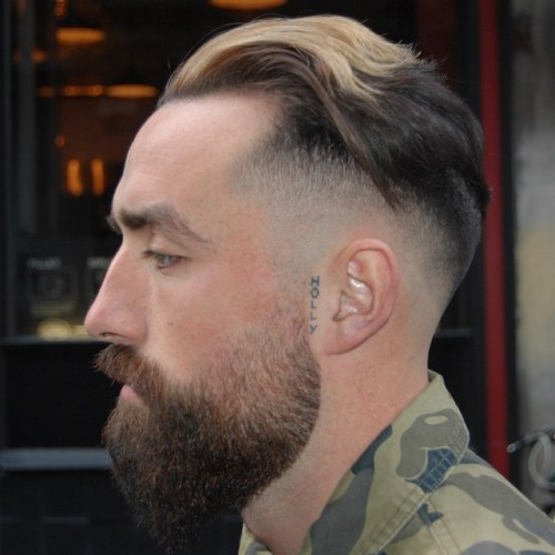 Fade Undercut With Long Top And Beard