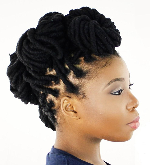 updo hairstyle for black women with dreadlocks