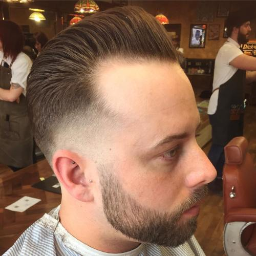Pompadour And Temple Fade For Balding Men