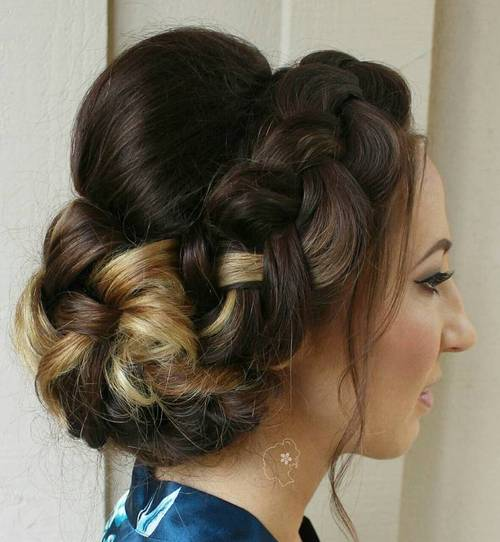 crown braid and bun updo with a bouffant