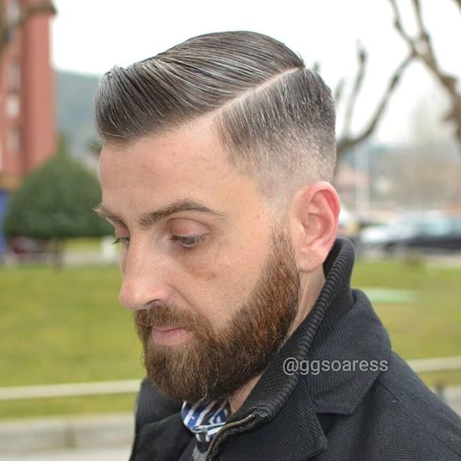Sleek Side Part Taper With Facial Hairstyle