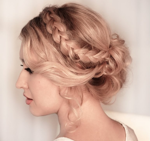loose curly updo with a headband braid