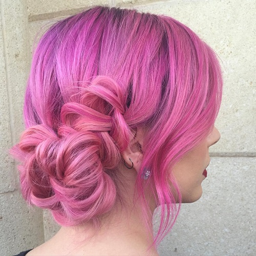 Pastel Pink Curly Updo