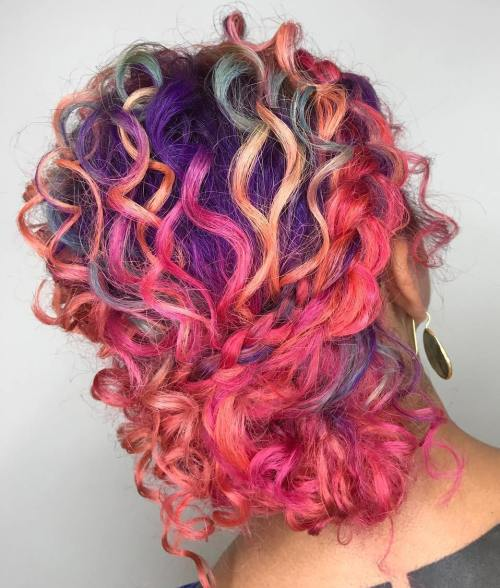 Pastel Hair Curly Braided Updo