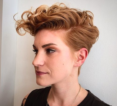 women's short tapered haircut with curly top