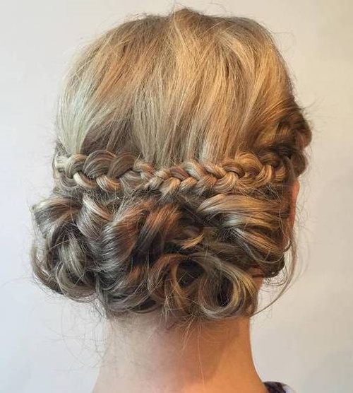 Curly Low Updo With A Braid