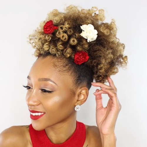 Afro Puff With Flower And Highlights