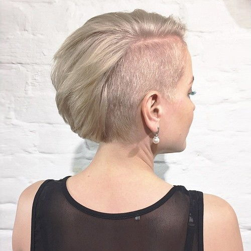 blonde bob with asymmetrical side undercut