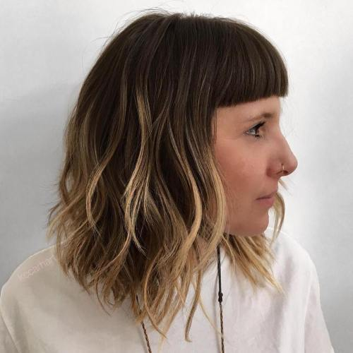 Brown Lob With Cropped Bangs And Highlights