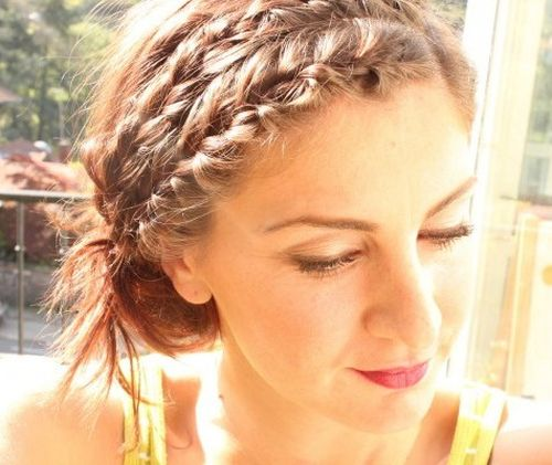 updo with two braided headbands