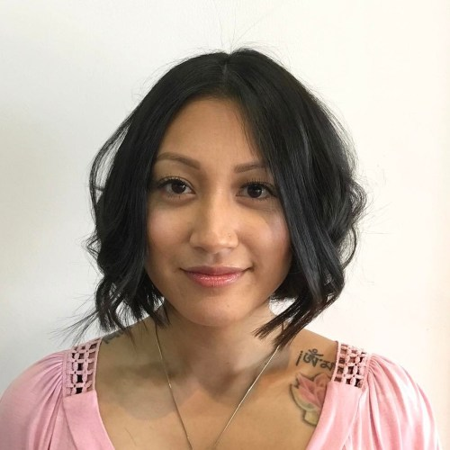 Wavy Centre-Parted Bob Hairstyle