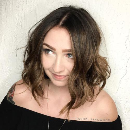 Long Wavy Bob For Round Faces