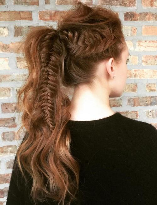 Messy Wavy Long Ponytail With Fishtail
