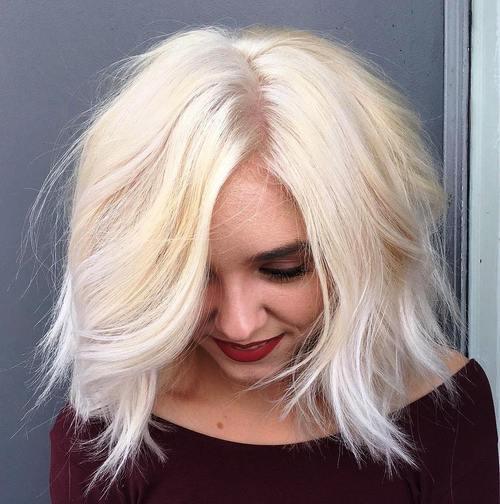 medium shaggy blonde hairstyle