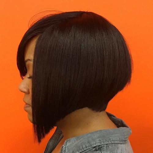 Angled Bob Haircut For Black Women