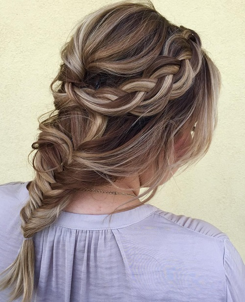 Crown Braid With A Bouffant