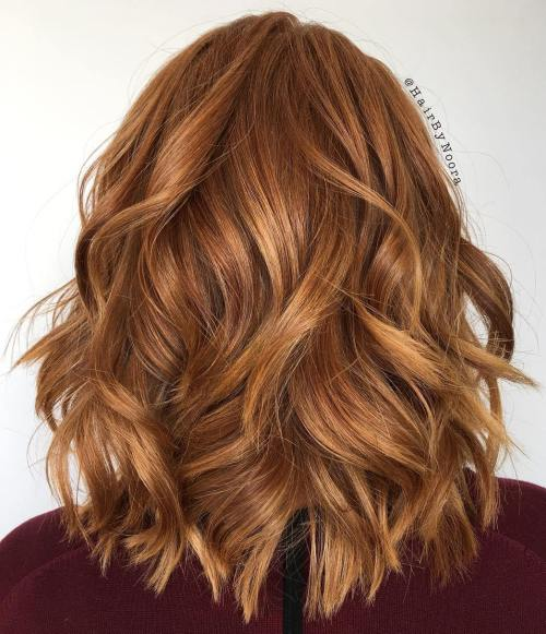Medium Layered Copper Red Hairstyle