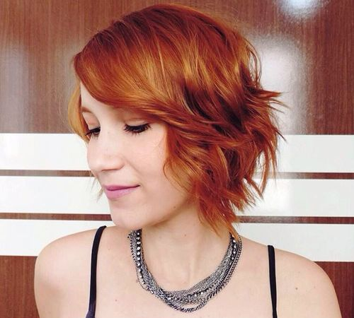 chin-length chopped red bob