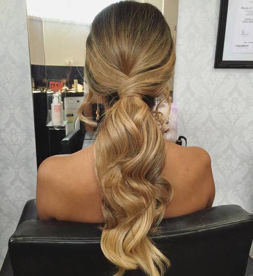 long low wavy ponytail
