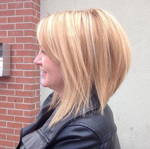 long blonde layered bob with subtle highlights