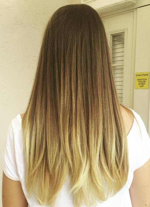 brown to blonde straight long ombre hair