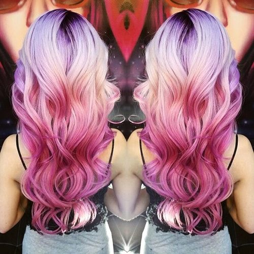 pink ombre for blonde hair with black roots