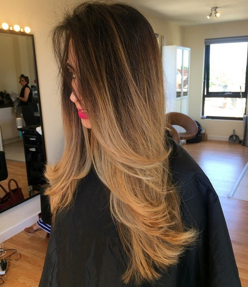 brown blonde ombre for long hair
