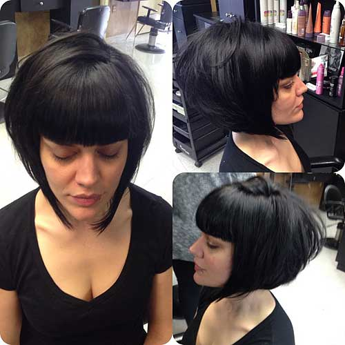 angled bob with blunt bangs