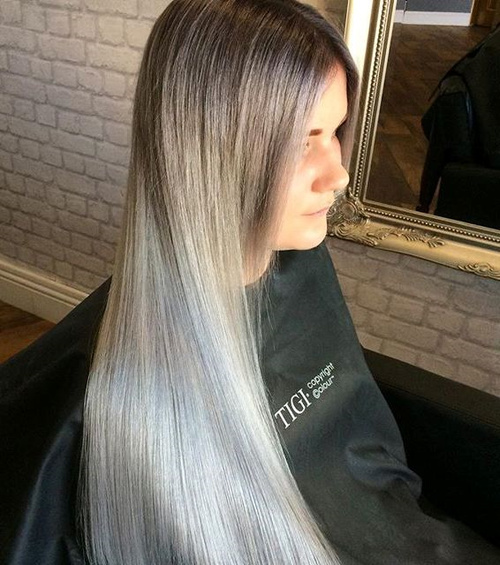 long straight silver ombre hair