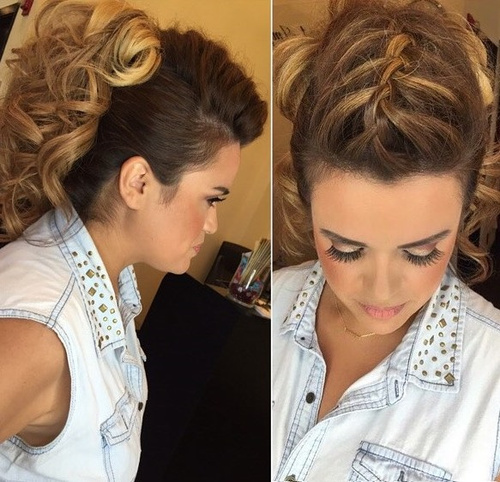 curly pony with a top braid