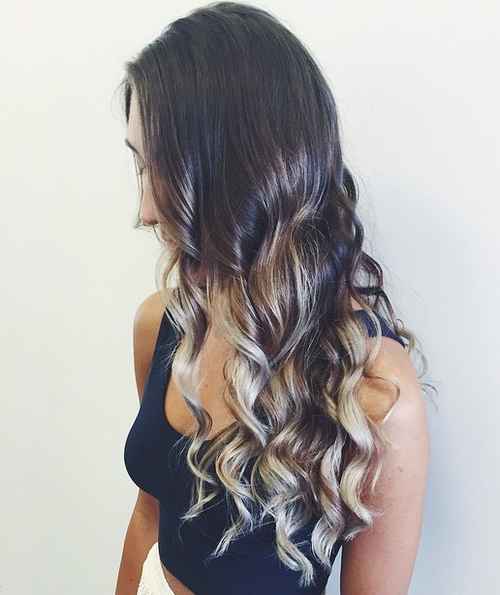 long brown hair with ashy blonde dip dye