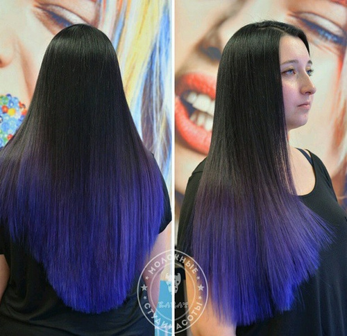 black to blue ombre for long hair