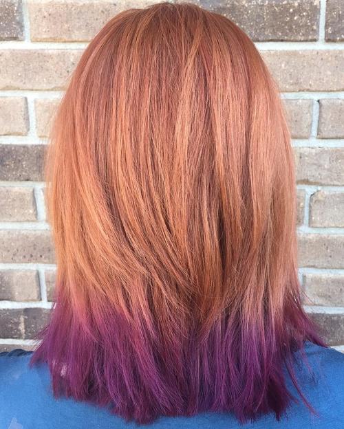 light copper hair with purple dip dye